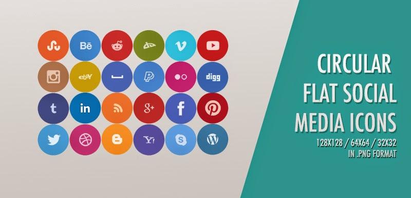 24 Circular Social Media Icons
