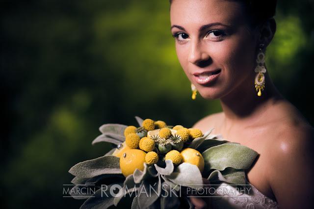Cytrynowe kolczyki ślubne sutasz
