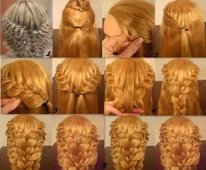 Красивые причёски на длинные волосы поэтапно на выпускной