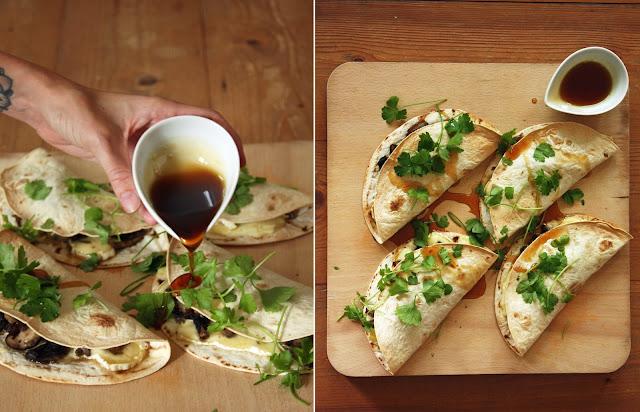 warps met agave, paddenstoelen en brie - Food Bandits