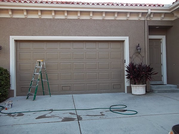 Painting an over sized garage door everything i create for Paint garage door to look like wood