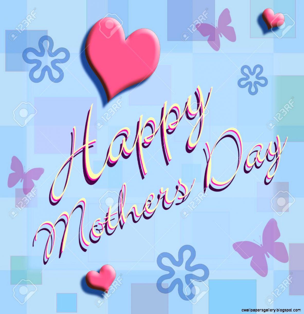 Happy Mothers Day Written In Script On A Light Blue Wall Paper