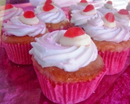 sharing a strawberry and cream flavour cupcake