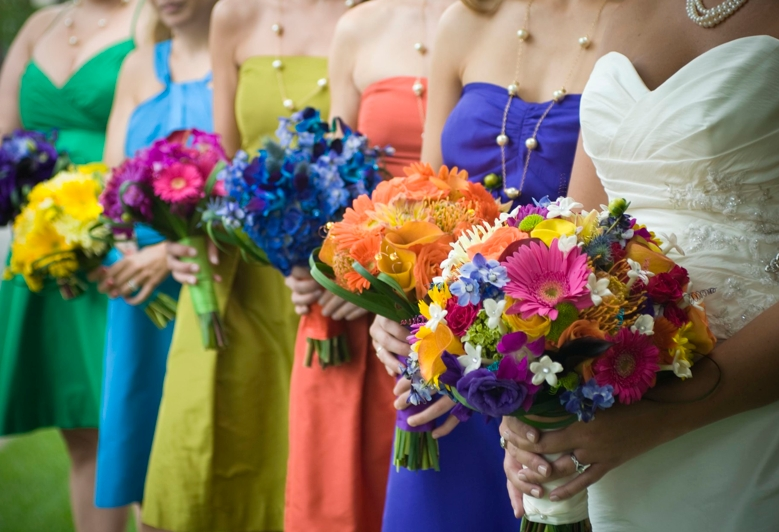 Bridesmaids gowns colorful bridesmaid dresses