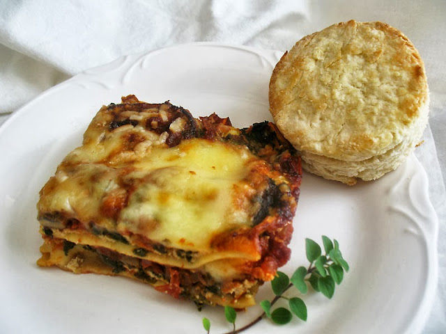 vegetarian mushroom together with spinach lasagne