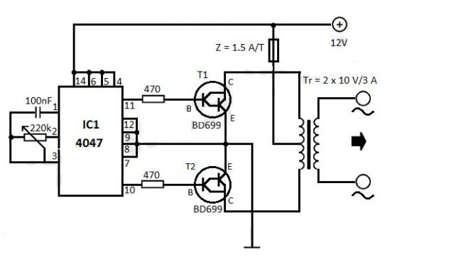 techi yard  12v dc to 220v ac converter circuit