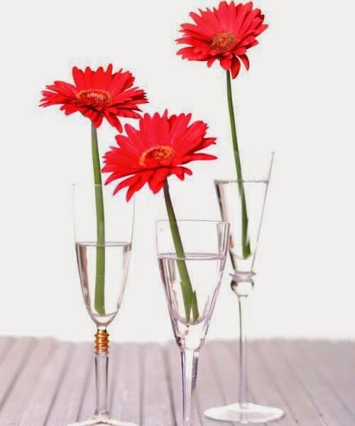 taças com flores