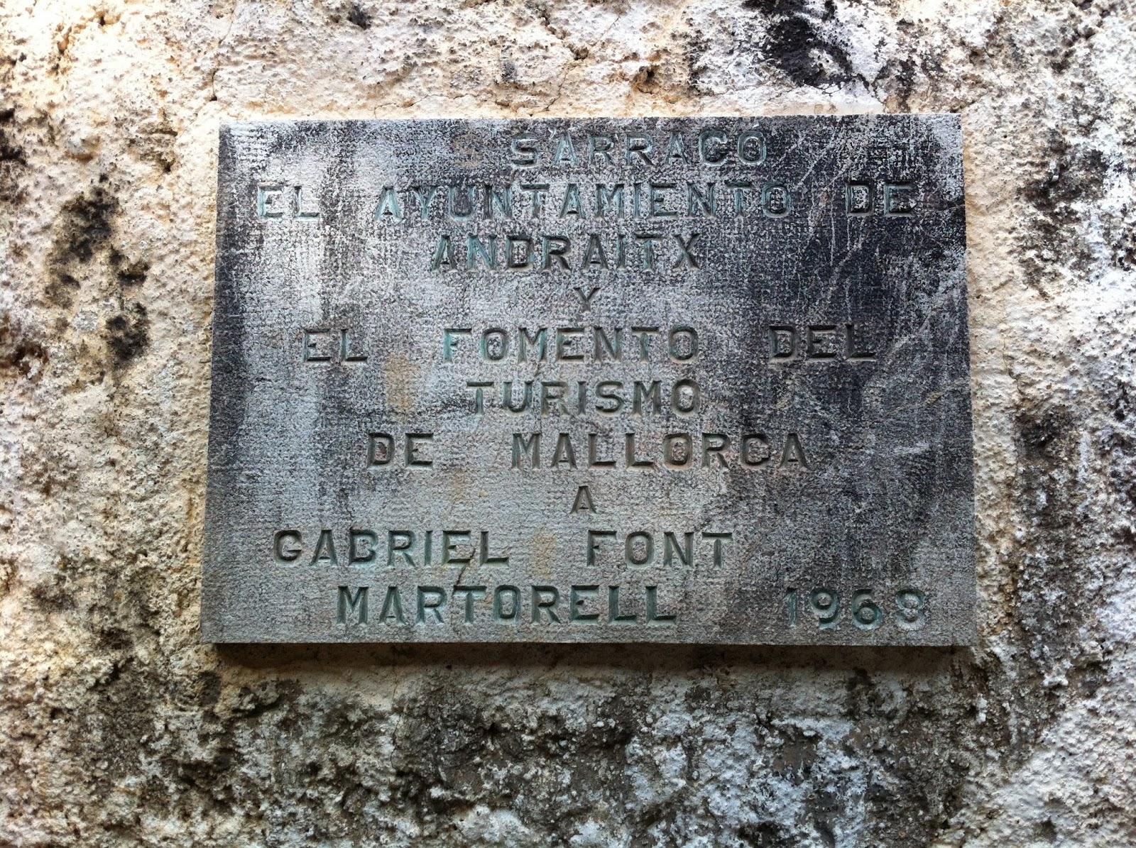 Placa d homenatge a gabriel font i martorell