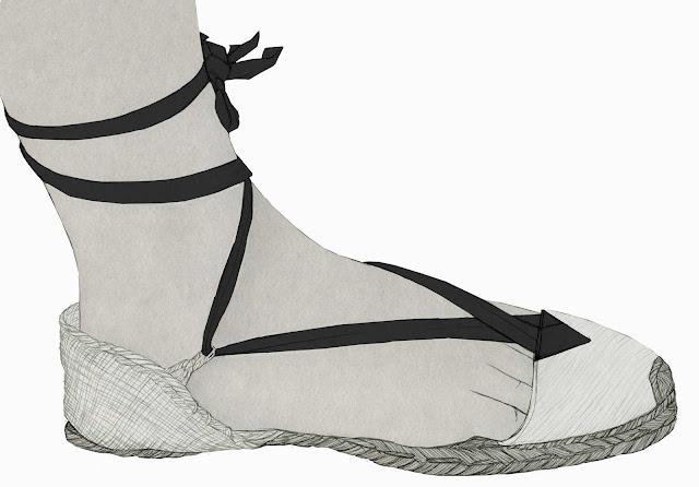 alpargata, espardeña, calzado tradicional. Valencia, dibujo