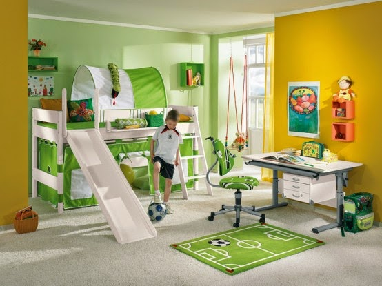 Cool Contemporary Green Kids Bedroom