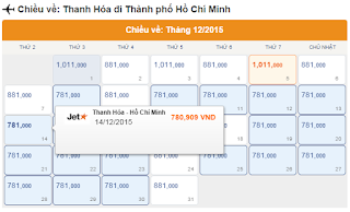 Vé máy bay giá rẻ Thanh Hóa HCM tháng 12
