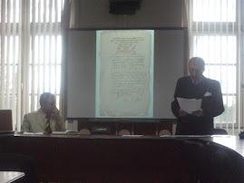 Aspect din timpul comunicării Prof. univ. dr. Ştefan S. Gorovei, despre Movileşti, 7.IV.2011...