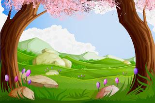 花を咲かせた新緑の風景 Green Cartoon Landscapes イラスト素材
