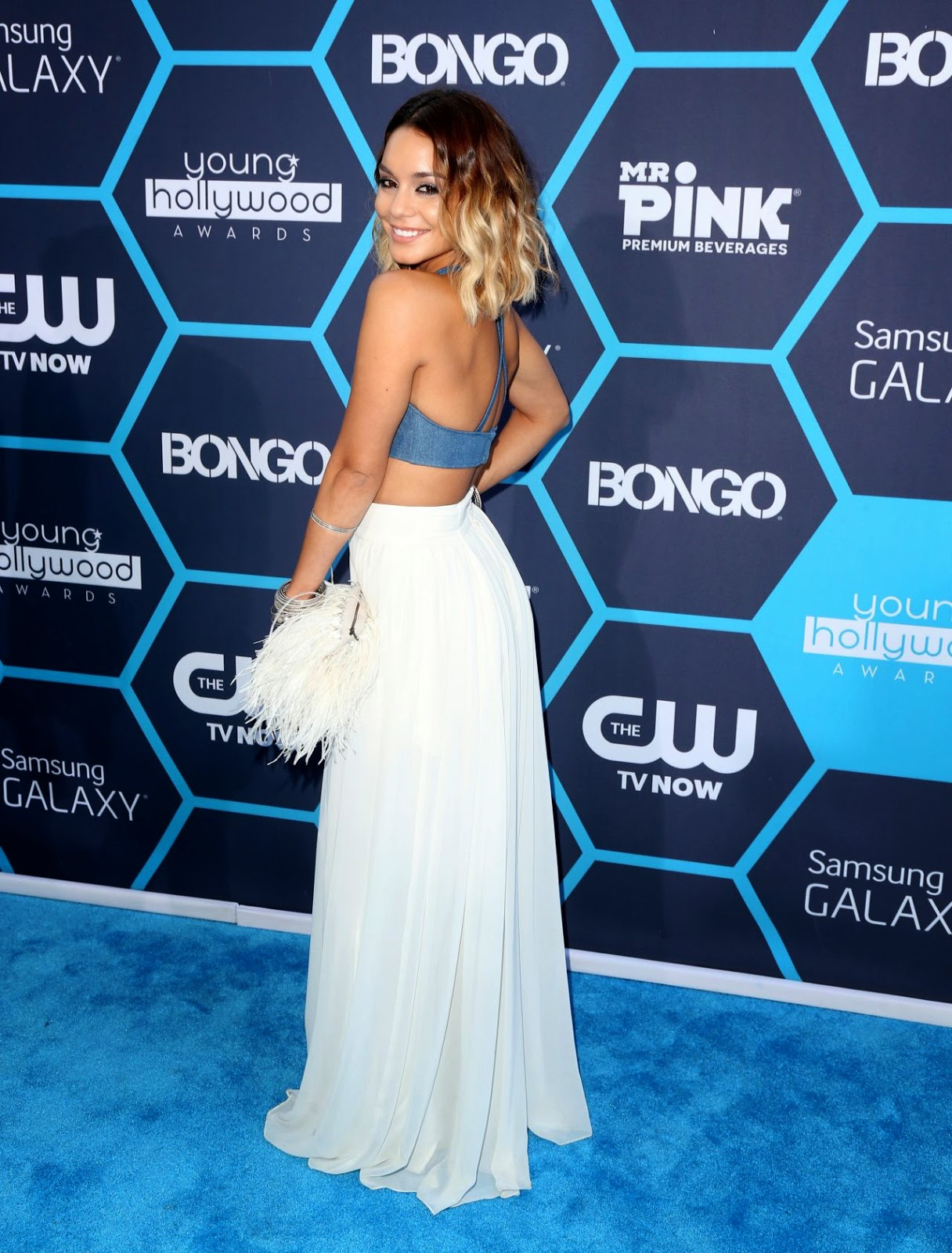 Vanessa Hudgens in a denim bralet and maxi skirt at the 2014 Young Hollywood Awards