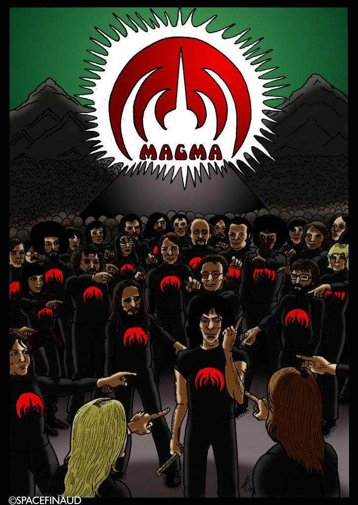 MAGMA, groupe français, fondé en 1969 par le batteur et leader, Christian Vander. Leur style musical s'appelle le Zheul, c'est à dire un mélange entre le jazz, le rock, l'avant-garde et le chant choral. Et en parlant de chant, MAGMA ne chante ni en français ni en anglais, mais en Kobaïen, une langue imaginaire inventé par Vander.   Depuis, le début de leur carrière, MAGMA a connu de nombreux changements de musiciens. Plus de 150. ce qui explique le peuple que j'ai dessiné autour de vander.  L'un des albums les plus marquants : Mekanïk  Destruktïw Kommandöh, sorti en 1973. Mais j'aime aussi 1001° Centigrades (1971) qui est aussi un de mes abums préférés.  Le groupe est toujours en activité et a récemment sorti leurs treizièmes albums : Slag Tanz.