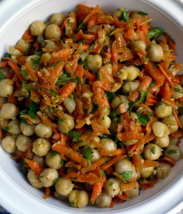 chickpea carrot parsley salad with herb vinaigrette