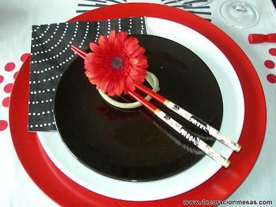 decoracion mesa estilo oriental adorno flor