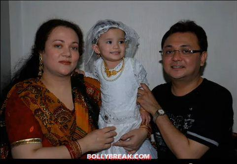 mandakini with her husband and daughter -  Mandakini with husband and family