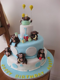 mod monkey cake,monkey birthday cake ideas,monkey cake topper,cake decorating,birthday cakes