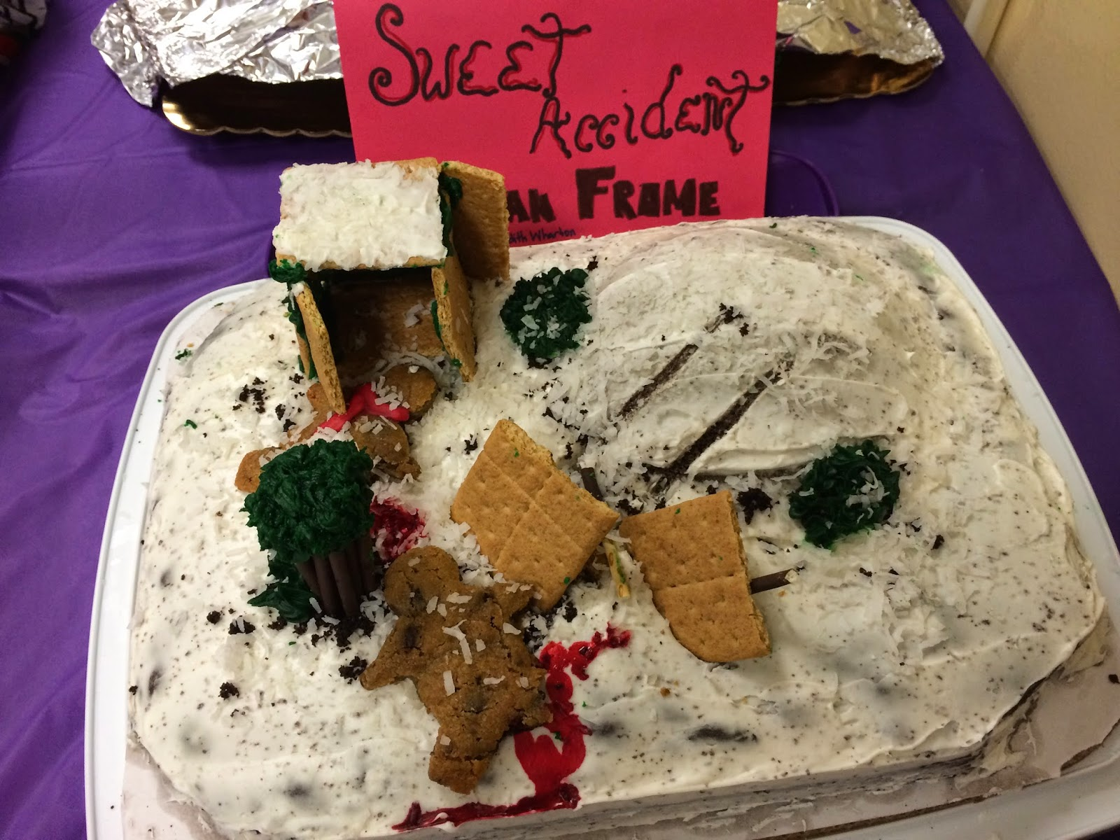 crafty cookies  this cake represented the sledding accident in edith wharton s novel ethan frome i loved the detail used for the hill and the sled s tracks