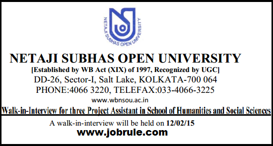 Netaji Subhas Open University Project Assistant Job in School of Humanities & Social Sciences (Walk-in-Interview 12/02/2015)