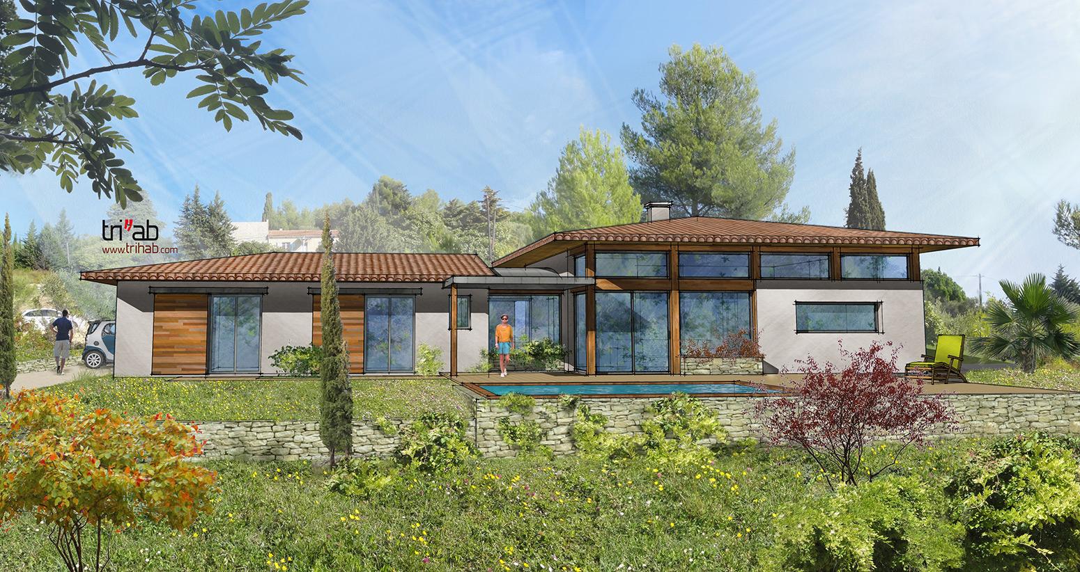 trihab architecture bioclimatique villa proven ale bioclimatique. Black Bedroom Furniture Sets. Home Design Ideas
