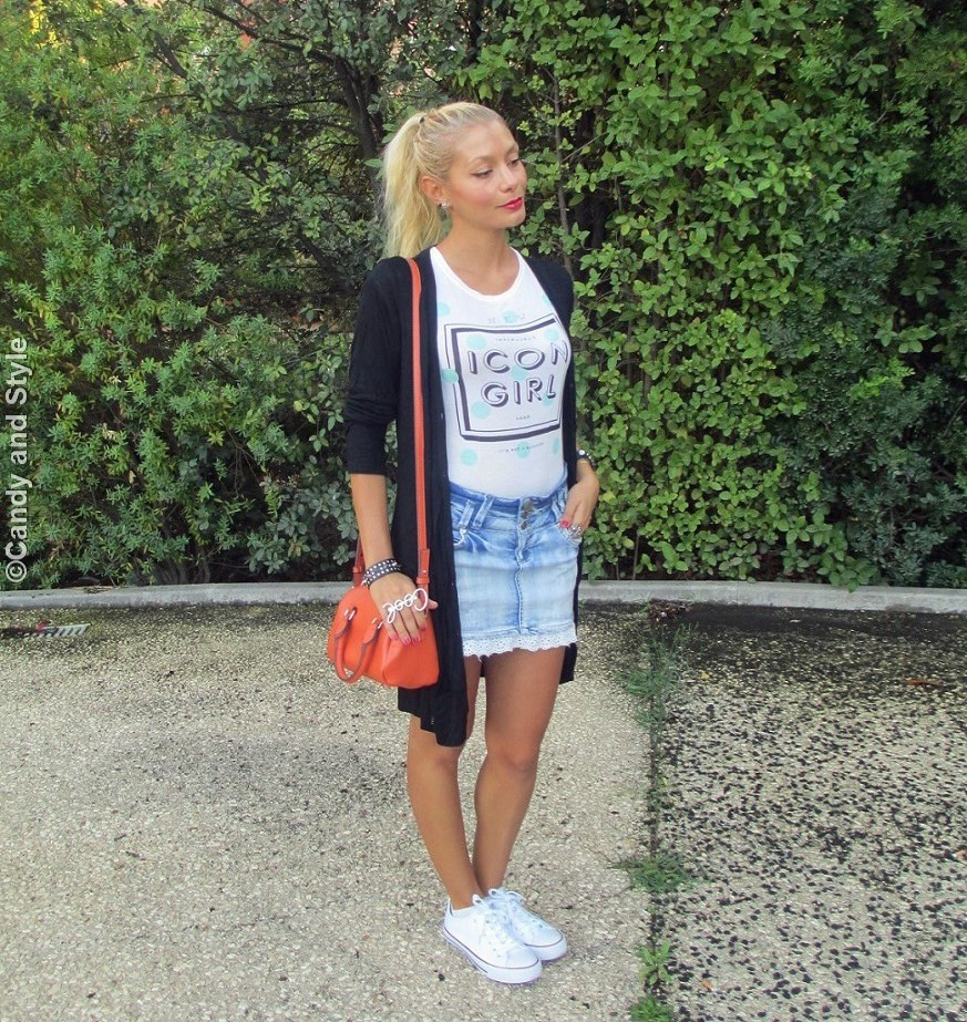 Cardigan, Tee, MiniSkirt, Sneakers, MiniBag, HighPonytail - Lilli Candy and Style Fashion Blog