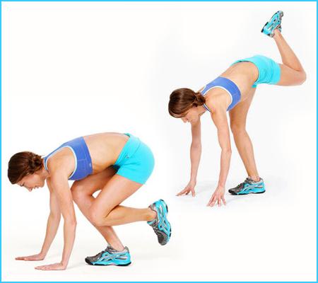 Упражнение за стягане на бедра и дупе - Приклякане и изнасяне на сгънат крак