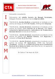 C.T.A. INFORMA CRÉDITO HORARIO MANUEL FERNANDEZ, ABRIL 2019