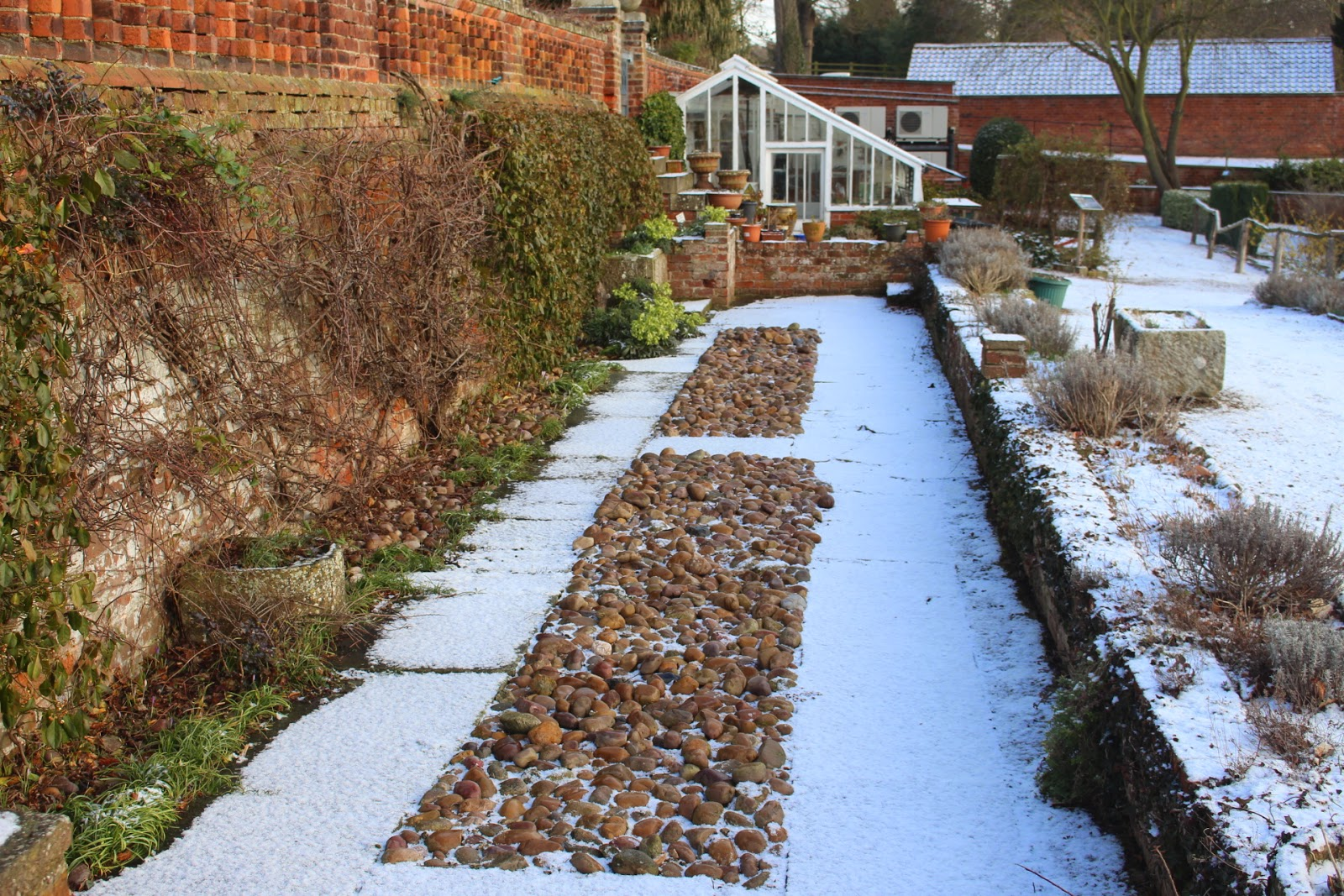 Photo of path contrasts at Hodsock Priory