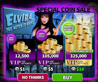 Coin sale at Hit It Rich to celebrate Elvira the Witch is Back slots