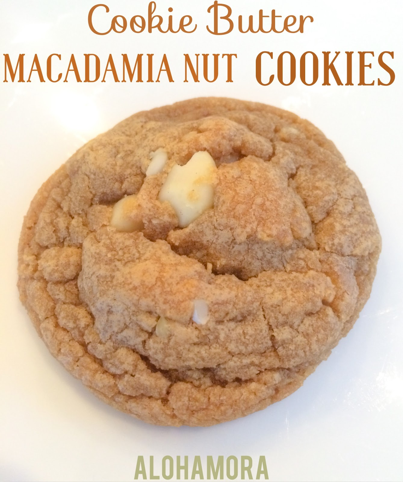 Cookie Butter Macadamia Nut Cookies.  Delicious sweet rich flavor with a salty crunch from the nuts.  Original and unique cookie with a one of a kind flavor.  Created by Alohamora Open a Book http://www.alohamoraopenabook.blogspot.com/