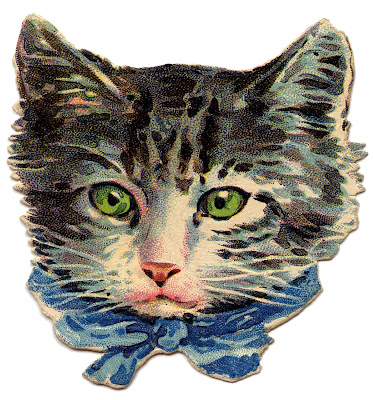 Vintage Image Kitty Cat Green Eyes