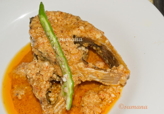 Bengali fish hilsa cooked in mustard oil and curd