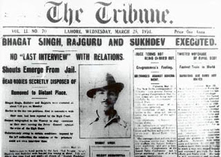 The Tribune reporting Bhagat Singh's execution