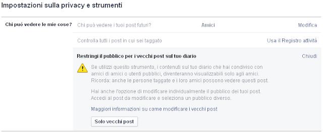 Facebook restringi il pubblico per i vecchi post