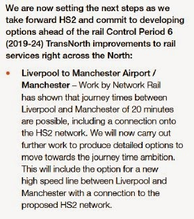 Liverpool to Manchester Airport / Manchester – Work by Network Rail has shown that journey times between Liverpool and Manchester of 20 minutes are possible, including a connection onto the HS2 network. We will now carry out further work to produce detailed options to move towards the journey time ambition. hThis will include the option for a new high speed line between Liverpool and Manchester with a connection to the proposed HS2 network.