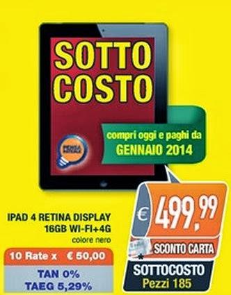 Sconto di 130 euro per i possessori della carta Unika sull'iPad 4 retina display wifi + Cellular fino al 5 ottobre 2013