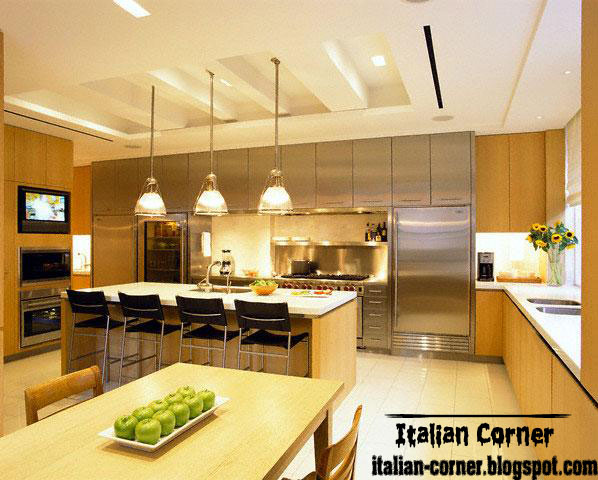 Modern Italian Kitchen Design With Unique Pop Ceiling Gypsum