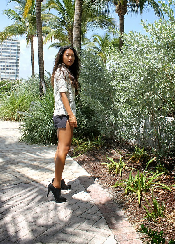 zara lace cardigan, topshop crop top, urban outfitters denim shorts, style by lynsee, miami fashion blogger, fashion blogger, popsugar blogger, steve madden booties, alex and ani bracelet, asian blogger, lynsee hee kyeong, miami blogger, glamour