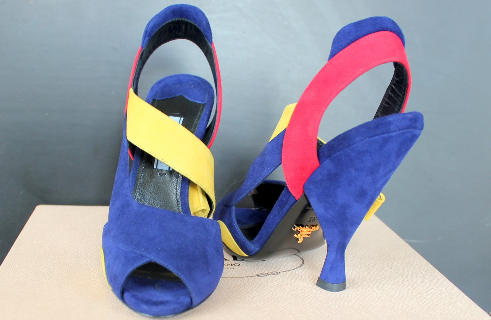 Designer Shoes - Prada color block heels