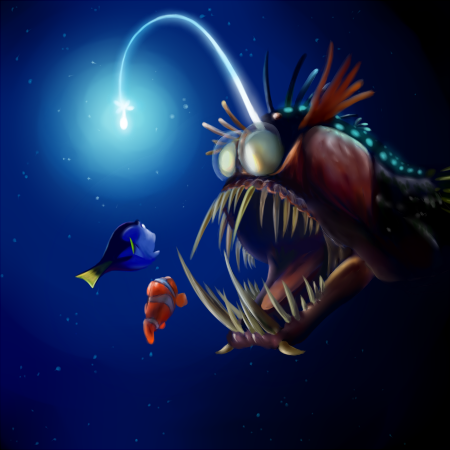 Themes of parasitology for Finding nemo angler fish