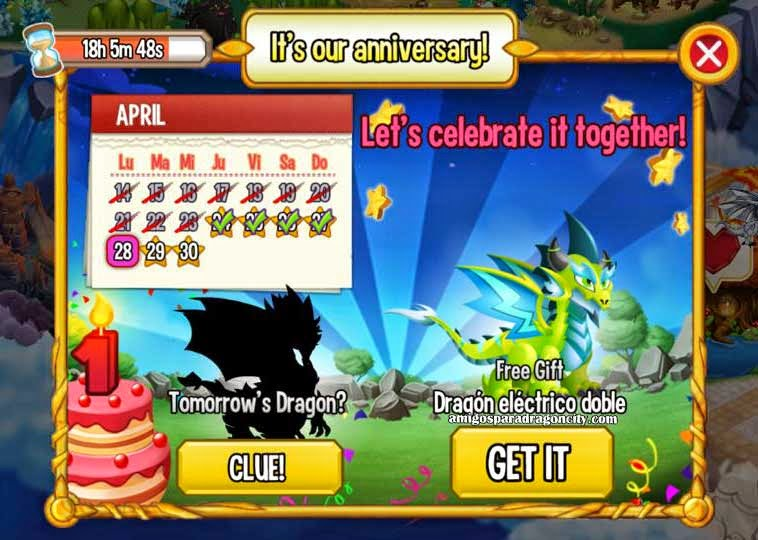imagen del calendario de aniversario de dragon electrico doble de dragon city ios