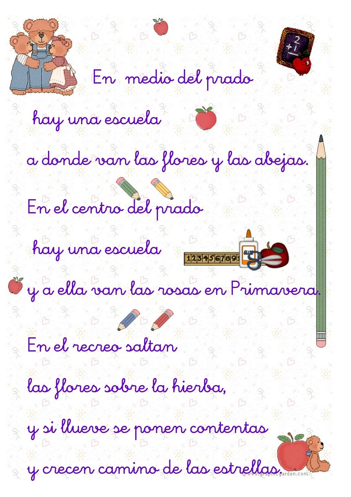 Poemas Para Ninos De La Escuela