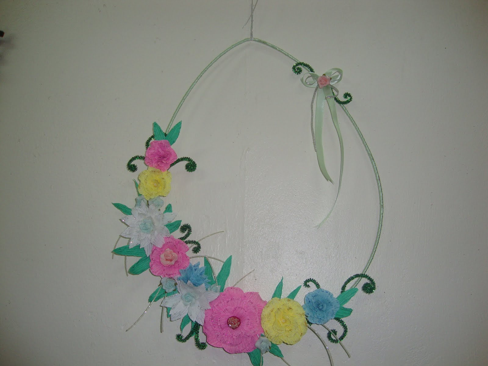 Neenu 39 s handmade crafts flower wall hanging for How to make a flower wall hanging