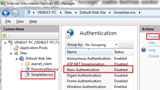 enabling Basic Authentication in IIS