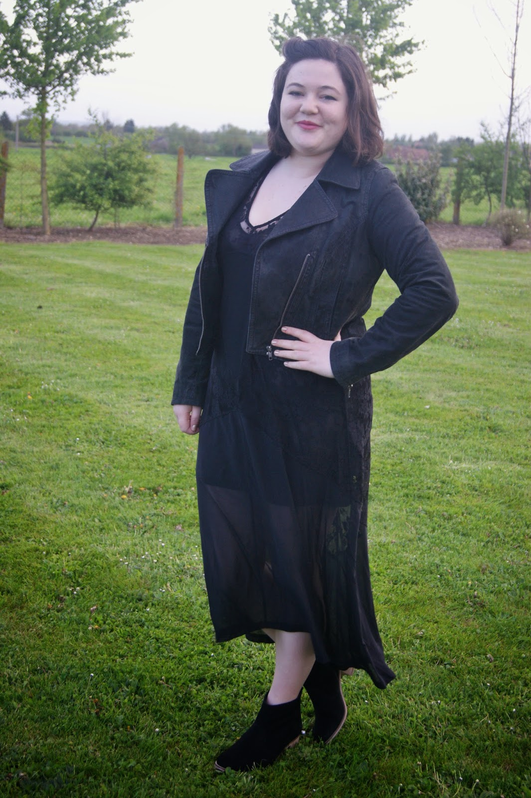Black maxi dress with boots