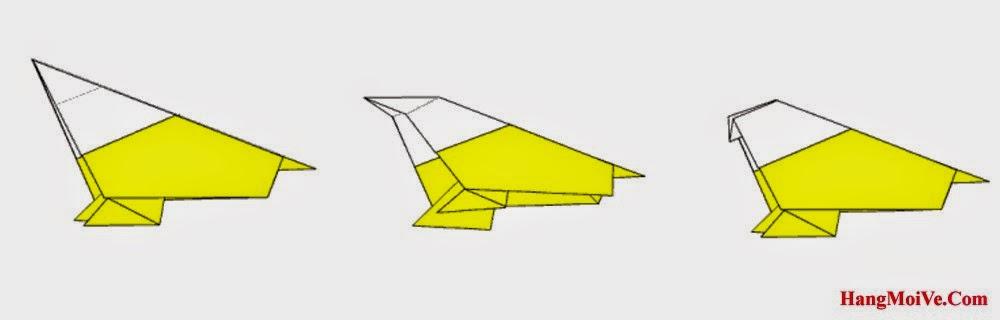 Bước 10: Xoay tờ giấy xuống sao cho giống như hình 1. Gấp góc bên trái của hình 1 vào xuống dưới nhét vào phía trong (như hình 2) ta được như hình 3.