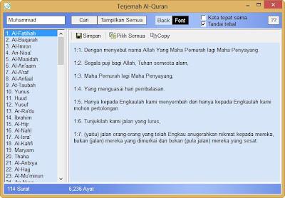 default terjemah al quran indonesia