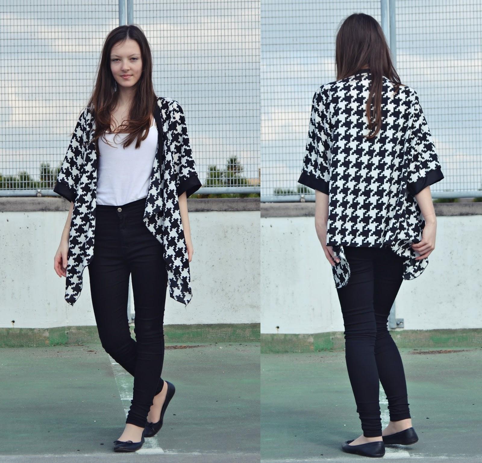 monochrome kimono outfit
